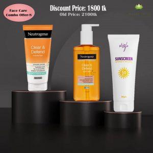 Neutrogena Clear & Defend Moisturiser+ Neutrogena Clear & Defend Facial Wash+ Skin Cafe Sunscreen Combo Offer
