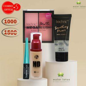 W7 Foundation + Technic Smoothing Primer+ Technic Blush + Technic Eyeliner Combo Pack Offer